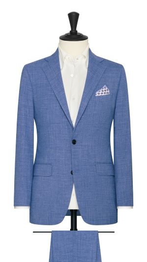 Mid Blue Stretch Linen Suit