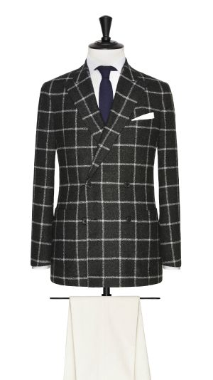 Grey Wool and Cotton Check Jacket