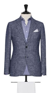 Blue and White Cotton, Silk, Linen and Polymide  Basket Weave Jacket