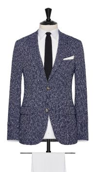 Navy Blue and White Linen and Polymide Striped Jacket