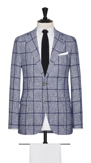Blue and White  Linen, Polymide and Cotton Check Jacket
