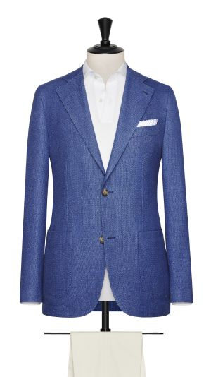 Blue Linen and Cotton Hopsack Jacket