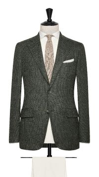 Green Wool, Linen and Silk Basket Weave Jacket