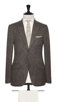 Brown Wool, Linen and Silk Basket Weave Jacket