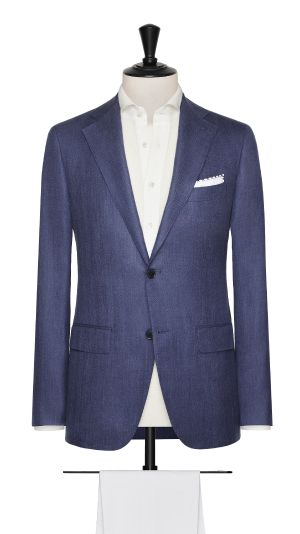 Blue Wool, Silk and Linen Herringbone Jacket