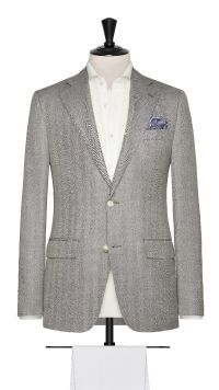 Grey Wool, Silk and Linen Herringbone Jacket