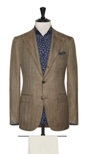 Brown Wool, Silk and Linen Herringbone Jacket