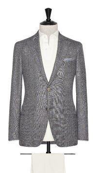 Grey Wool, Silk and Linen Check Jacket