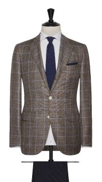 Brown Wool, Silk and Linen Check Jacket