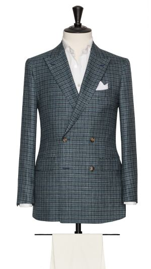 Blue Wool, Silk and Linen Check Jacket