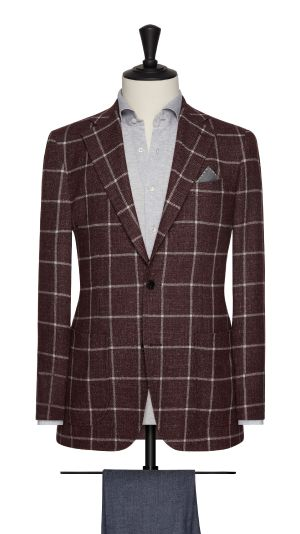 Burgundy and White Check Jacket