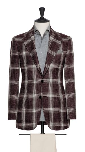 Burgundy and Grey Check Jacket