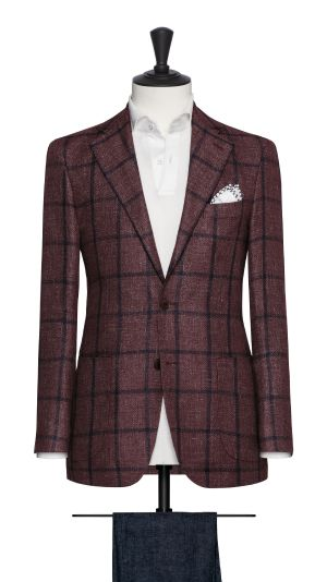Burgundy and Blue Check Jacket