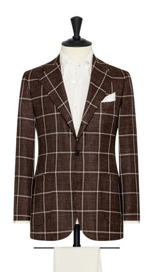 Brown Linen Tweed Check Jacket