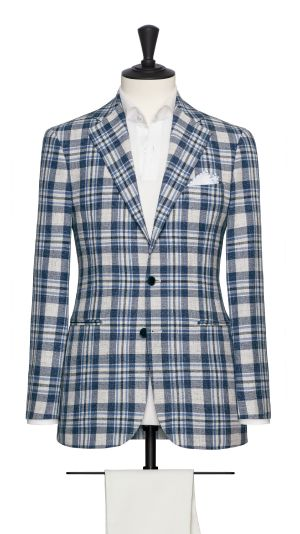 Blue and Ivory Check Jacket