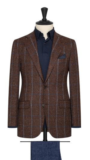 Brown and Burgundy Check Jacket