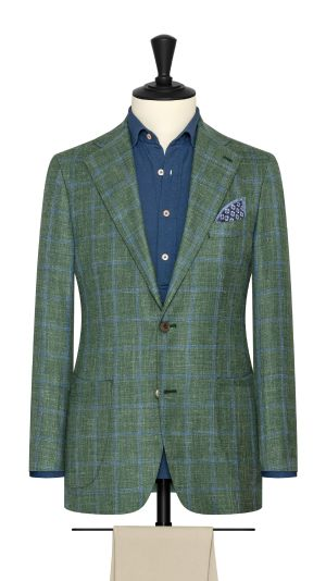 Jade Green and Blue Windowpane Jacket