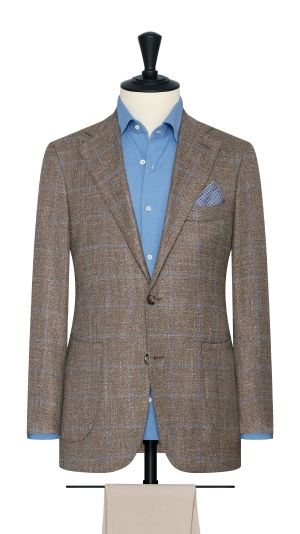 Taupe Melange and Blue Windowpane Check Jacket