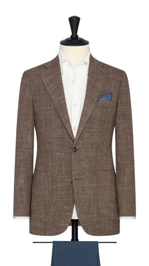 Taupe Melange Wool and Linen Jacket