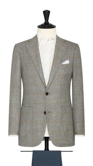 Grey and Yellow Linen Tweed Windowpane Jacket