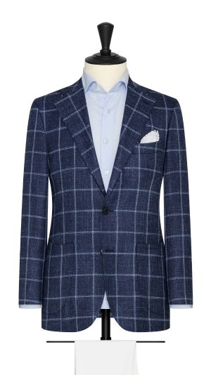 Dark Blue Linen Tweed Windowpane Jacket