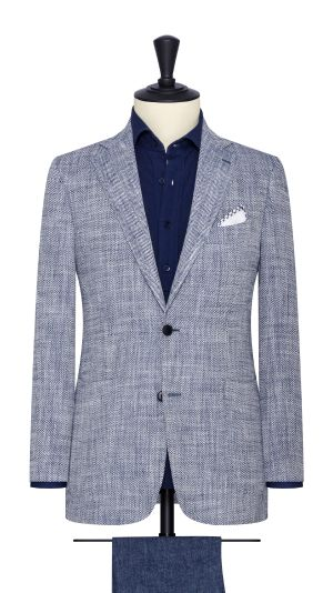 Blue and White Herringbone Jacket