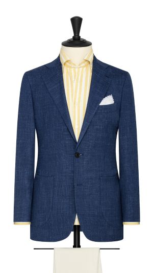 Navy Melange Wool and Linen Jacket