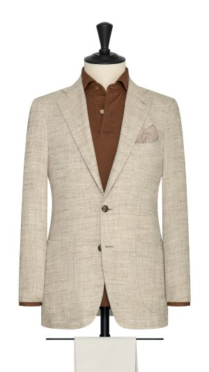 Sand and Ivory Herringbone Jacket