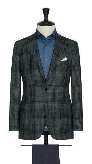 Bottle Green and Blue  Check Jacket