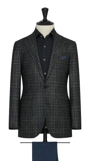 Green Wool, Silk and Cashmere Blend Check Jacket