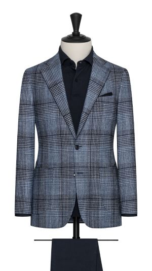 Blue Check Wool, Silk & Cashmere Jacket