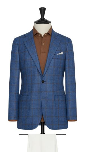 Blue Twill Jacket with Brown Windowpane