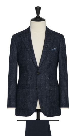 Blue Wool Alpaca and Silk Check Jacket