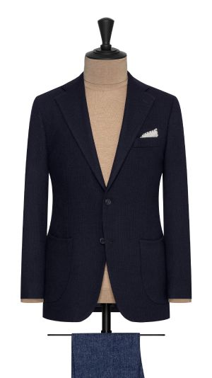 Navy Wool and Cashmere Knit Jacket