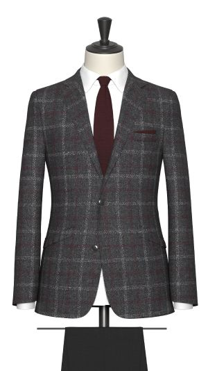 Grey and Maroon Check Jacket