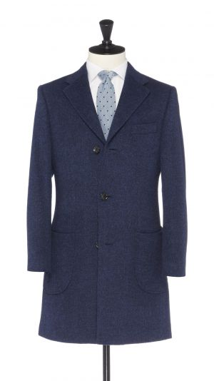 Blue Wool, Silk and Cashmere Overcoat