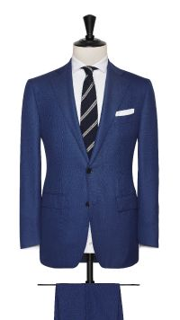 Blue Wool Sharkskin Suit