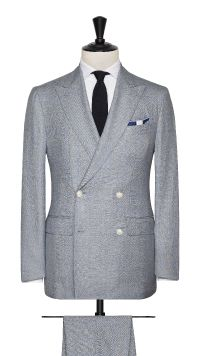 Blue Sharkskin Wool Check Suit