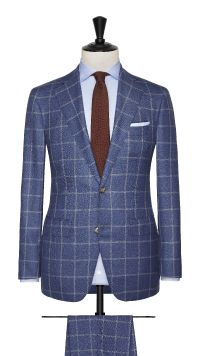 Blue and White Sharkskin Wool Check Suit