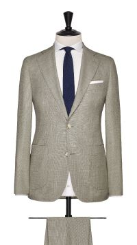 Beige Wool Basket Weave Suit