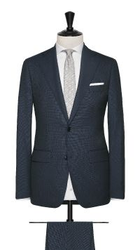 Teal Blue Wool Micro Design Suit