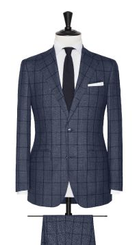 Blue Super 120's Check Suit