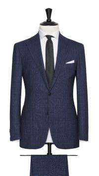 Blue Wool Stretch Check Suit