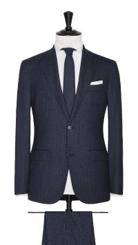 Blue Wool and  Silk Stretch Check Suit