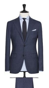 Blue Wool and Silk Stretch Stripe Suit