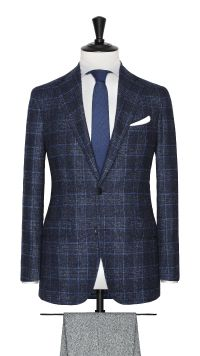 Blue Apalca and Wool Check Jacket
