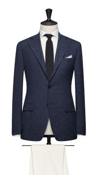 Blue Wool, Silk and Linen Jacket