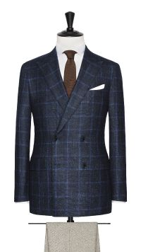 Blue Wool, Silk and Cashmere Check Jacket