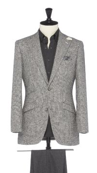 Grey Wool, Silk, Cotton and Linen Jacket