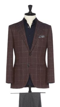 Burgundy Wool Check Jacket